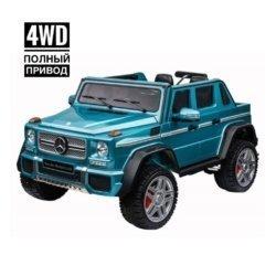 Электромобиль Mercedes-Benz Maybach G650 AMG 4WD синий (полный привод, колеса резина, пульт, музыка)